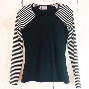 ATHLETA | Black Striped Sleeve Running Shirt XS